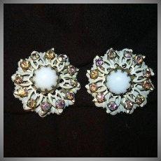 Old Kramer White & Rhinestone Clip Earrings