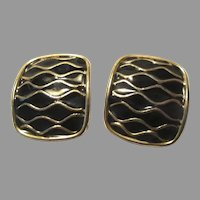 Black Enamel & Gold Tone Metal Clip Earrings