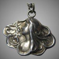 Art Nouveau Silver Lady Pendant