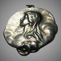 Art Nouveau Sterling Silver Lady Pendant