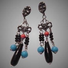 Elegant Clip Earrings Black Coral Turquoise Color Stones