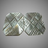 Old Carved Mother of Pearl MOP Buckle