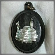 Antique English Horn Locket Mother Of Pearl Church Inlay Hair Souvenir Fine Mourning Religious Jewelry