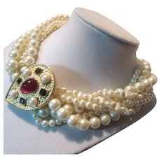Richelieu Signed Faux Pearls Necklace Jeweled Pendant