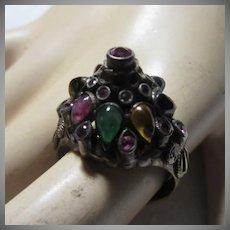 14 Karat Gold Princess Ring Rubies & Natural Stones Fine Jewelry