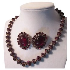 Rare Adele Simpson Cherry Red Gold Necklace Clip Earrings Set