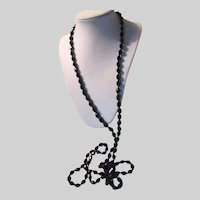 Black Faceted Glass Beads Long Necklace