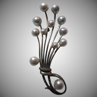 Sterling Silver Cultured Silvery Pearls PIn Brooch Fine Jewelry