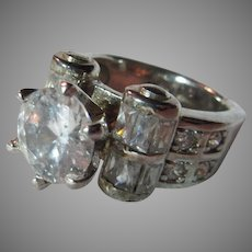 Fine Vintage CZ Cubic Zirconia  Ring  Sz 8.75