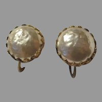 Miriam Haskell Faux Baroque Pearl Button Clip Earrings