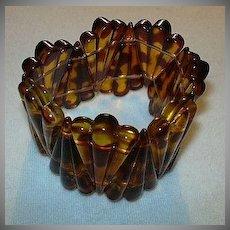 Faux Tortoise Expansion Bracelet Vintage Costume Jewelry