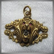 Victorian Pendant Lion Charm Jeweled Eyes