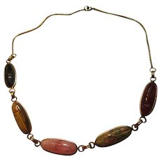 Real Stones Scarab Gold Filled Necklace