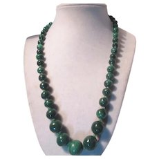 Fine Green Malachite Graduated Beads Necklace