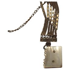 Antique Pocket Watch Chain With MOP Fob