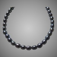 Blue Iridescent Cultured Freshwater Pearls Necklace