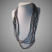 "Black Blue Iridiscent  Cultured Freshwater Pearls 97"" Long Necklace"