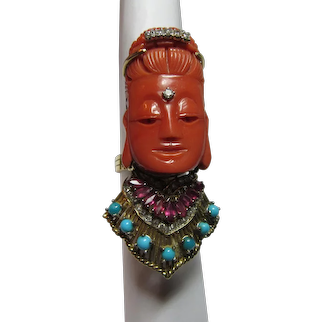 Carved Coral Buddha Face 18K Gold Diamonds Rubies Turquoise Pendant Ring Vintage Jewelry