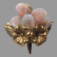 Miriam Haskell Unsigned Pink Brooch Flower