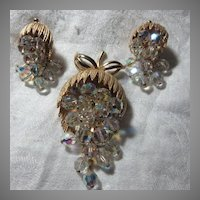 Old Brooch & Clip Earring Set With Dangling Crystals