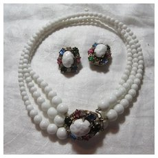 Michael Paul White Milk Glass Beads Necklace Earring Set Colored Stones