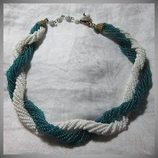 Miriam Haskell Green & White Beaded Choker Necklace