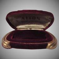 Maroon Velvet Alton Watch  Jewelry Box Gold Feet
