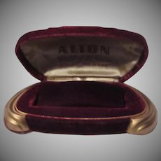 Maroon Velvet Alton Watch  Jewelry Box Gold Feet