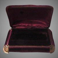 Maroon Velvet Bulova Spring Hinged Jewelry Rosary Box