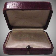 Deep Maroon Leather Jewelry Box Old USA