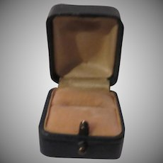 Dark Green Leather Ring Box Old Germany