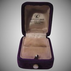 Purple Velvet Old Jewelers Ring Box