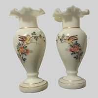 Pair Vases Hand Painted Birds White Glass