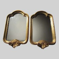 Pair Small Italian Florentine Wall Mirrors