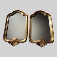 Pair Small Italian Florentine Wall Mirrors