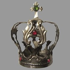 Old Silver Tone Metal Jeweled Crown For Statue