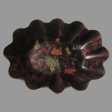 19th C  Papier Mache Centerpiece Bowl Painted Flowers Fine English Decorative Art