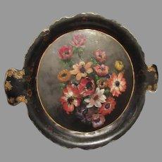 Antique Papier Mache Tray Hand Painted Flowers