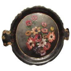 Antique Papier Mache Tray Hand Painted Flowers