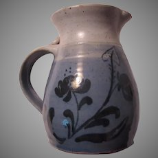 Signed Pottery Large Pitcher Blue White