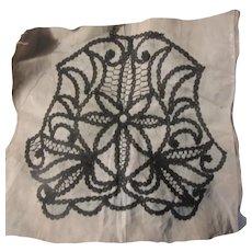 Old Black Lace Work in Progress on Linen Pattern