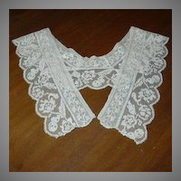 Ecru Filet Crochet Lace Collar Dress Piece