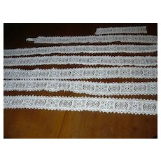 White Linen Lace Wide Edging Strips