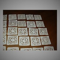 Set 51 Fine Needlework Lace Squares Italian Cantu Battenburg