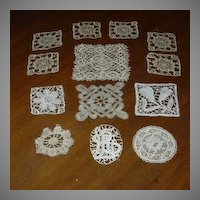 Set 12 Pieces Old Needle Lace Squares