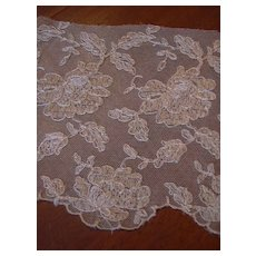 Old Ecru Wide Needle Lace Panels Yardage Trim