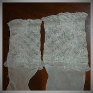 Pair Old Lace Cuffs On Organdy Sleeves