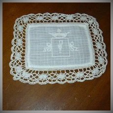 White Batiste Square With Embroidery & Lace