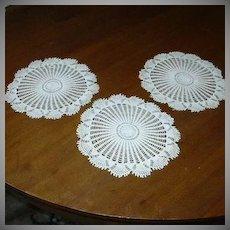 Set Three Round Crochet Lace Doilies