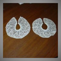 Pair Old Net Lace Ruffles Or Collars Vintage Clothing